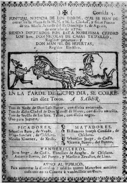 Primer Cartel Anunciando Toros 1770